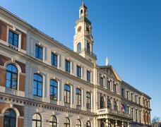 Main Building of the Riga City Hall - stock photo