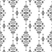 Vector black and white navajo aztec seamless pattern - stock illustration