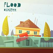Flood Disaster Illustration - stock illustration
