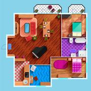 Top View Of Interior Of Typical Apartment - stock illustration