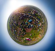 Quadrocopter spherical panorama - stock photo