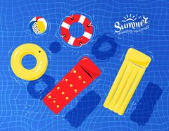 Pool toys floating on water - stock illustration