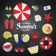 Summertime top view illustrations Stock Illustration