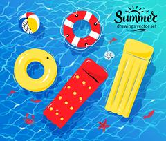 Pool inflatable toys on water - stock illustration