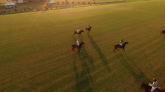 Polo challenge during sunsetSlight slow motion. Aerial. N Stock Footage