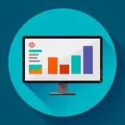 Computer monitor display wide screen icon. Presentation. Flat design style. Stock Illustration