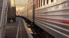 The passenger train departs from the platform. Stock Footage