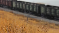 Freight train carrying  containers through scenic landscape. Close-up Stock Footage