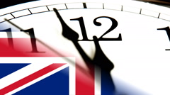 Brexit, EU and GB Flag and Clock Stock Footage