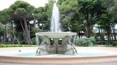 Fountain of the four horses in Rimini Italy Stock Footage