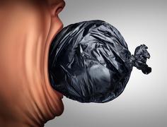 Eating Garbage - stock illustration