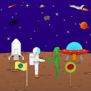 Beautiful cartoon funny background of the cosmos - stock illustration