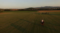 Aerial drone, Polo challenge during sunset.  Slight slow motion. N Stock Footage