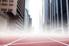 Race track against new york street - stock illustration