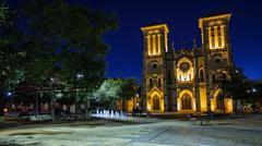 San Fernando Cathedral in San Antonio, Texas at Night Kuvituskuvat