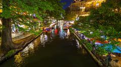 San Antonio River Walk at Night in San Antonio, Texas Kuvituskuvat