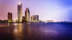 Dowtown Corpus Christi Skyline at Night in Texas Stock Photos