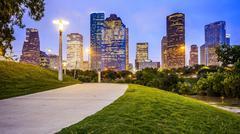 Houston City Skyline at Night From Eleanor Tinsley Park Stock Photos
