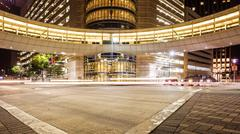 Downtown Houston, Texas Intersection & Traffic at Night - stock photo