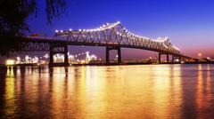 Baton Rouge Bridge Over Mississippi River in Louisiana at Night Stock Photos