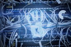 Digital security hand print scan against view of data technology Stock Illustration