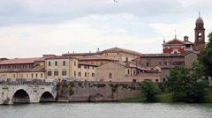 Tiberius bridge and Chiesa di Santa Maria dei Servi Rimini Stock Footage