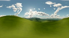 Panoramic of green hills landscape timelapse. made with оne 360 degree lense Stock Footage