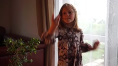Funny dancing Girl dancing at home Stock Footage