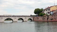 Tiberius bridge Rimini Italy Stock Footage