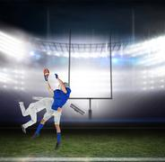Businessman tackling a football player against american football arena Kuvituskuvat