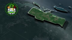 Belize with Coat Of Arms Animation Map - stock footage
