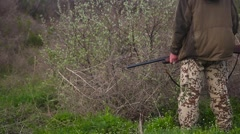 Hunter holding a shotgun Stock Footage