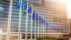 European Union flags in front of European Commission. Brussels, Belgium. 4K Stock Footage