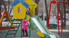 Kids on the Playground. Colorful Slide For Children. Children's Slide Stock Footage