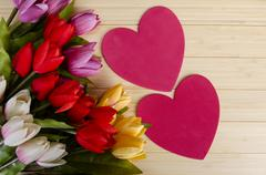 Tulips flowers arranged with copyspace for your text - stock photo