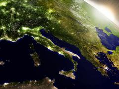 Sunrise over Italy Stock Illustration