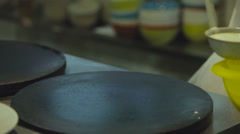 Ladle Pour the Dough on a Pancake Maker. Cook Pancakes. Pancake Maker. Kitchen Stock Footage