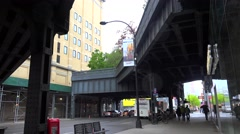 High Line Park from 10th avenue. Bottom view in rain. Stock Footage