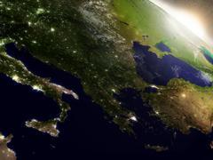 Sunrise over Greece Stock Illustration