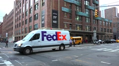 FedEx van at the 9th avenue near Chelsea Market. NYC, USA Stock Footage