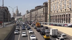 Heavy traffic at the Sadovoye Ring in Moscow Stock Footage