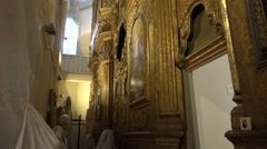Former and future church building, now arts museum. The iconostasis Stock Footage