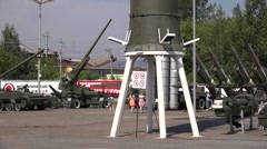 Modern historical guns and a missile rocket in Motovilikha Plants armory museum Stock Footage