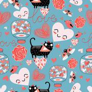 Pattern of cat lovers hearts Stock Illustration