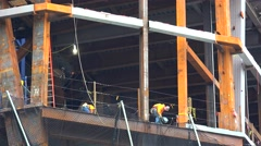 Welding at the construction of a skyscraper by the Hudson Yards Project Stock Footage