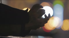 Hands with interlocked fingers closeup, sign of care and support, loving people Stock Footage