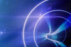 Blue spiral with bright light against some blue matrix and codes - stock illustration