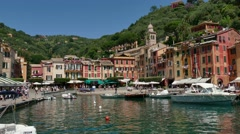 Boats in Port in Portofino Italy Mediterranean Sea Village Travel - stock footage