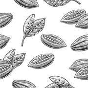Seamless pattern with leaves and fruits of cocoa beans. Stock Illustration