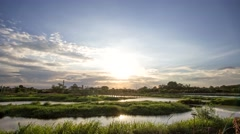 Scenery of sugar factory moment was going to sunset, Sugar Factory Sam Chuk Stock Footage